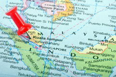 Malaysia in map. Macro shot of malaysia map with push pin Royalty Free Stock Images