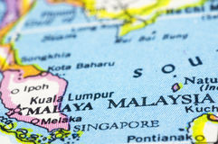 Malaysia on map Stock Photography