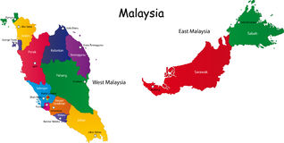 Malaysia map. Designed in illustration with the provinces and the main cities. (Map is hight resolution
