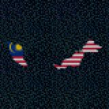 Malaysia map flag on hex code illustration. Retro 8 bit pixellated Malaysia map flag on hex code illustration Royalty Free Stock Image
