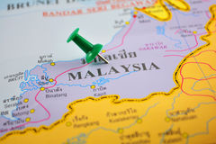 Malaysia map. Macro shot of malaysia map with push pin Stock Photo