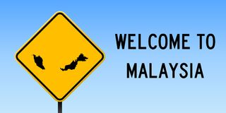 Malaysia map on road sign. Wide poster with Malaysia country map on yellow rhomb road sign. Vector illustration royalty free illustration