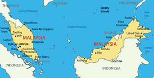Malaysia - vector map of territory - country Royalty Free Stock Image