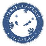 Malaysia map. Vintage Merry Christmas Malaysia. Stock Image
