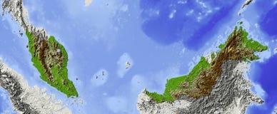 Malaysia, mapa de relevo Ilustração Stock