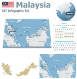 Malaysia maps with markers Royalty Free Stock Images