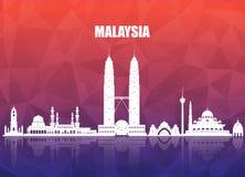 Malaysia-Markstein-globaler Reise- und Reisepapierhintergrund VE lizenzfreie abbildung