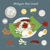 Malaysia mat (Nasi Lemak) stock illustrationer