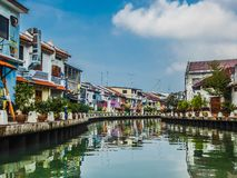 Malaysia - Melaka flod arkivbild