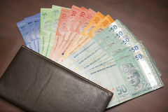 Malaysia money banknotes with brown wallet Stock Image