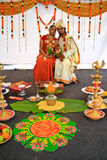Malaysia Multi Ethnic Wedding Exhibition. KUALA LUMPUR, MALAYSIA - NOVEMBER 28: The Indian couple wearing exotic traditional cloth at the Malaysia Wedding Royalty Free Stock Photography