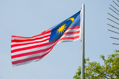 Malaysia national flag sky background. Vintage effect style pictures Royalty Free Stock Photography