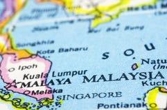 Malaysia no mapa Fotografia de Stock