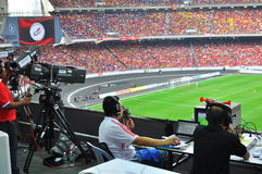 Malaysia och Liverpool fotbollmatch Arkivfoton