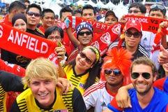 Malaysia och Liverpool fotbollventilator Arkivfoton