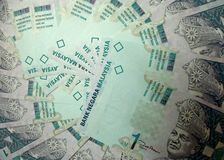 Malaysia papperssedel RM1 $1 arkivbild