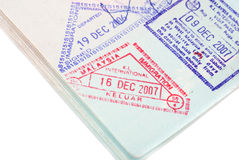 Malaysia passport entry  stamps Royalty Free Stock Photo
