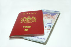 Malaysia passport and Notes Stock Photography