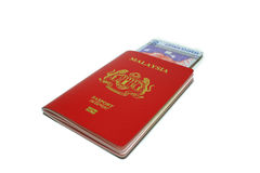 Malaysia passport and Notes Stock Photo