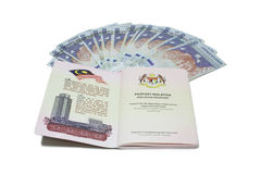 Malaysia passport and Notes Royalty Free Stock Images