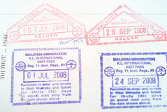 Malaysia passport stamps Royalty Free Stock Photography