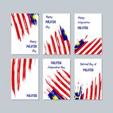 Malaysia Patriotic Cards for National Day. Expressive Brush Stroke in National Flag Colors on white card background. Malaysia Patriotic Vector Greeting Card Royalty Free Stock Photo