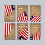 Malaysia patriotiska kort för nationell dag royaltyfri illustrationer