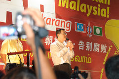 Malaysia penang chief minister Lim Guan Eng giving speech during Malsysia General election campaign. Malaysia penang chief minister Lim Guan Eng giving speech Royalty Free Stock Photo