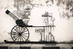 MALAYSIA, PENANG, GEORGETOWN - CIRCA JUL 2014: Artistic sign, wi Royalty Free Stock Photos