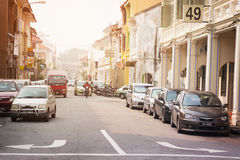 MALAYSIA, PENANG, GEORGETOWN - CIRCA JUL 2014: Light trafic on a Royalty Free Stock Photo