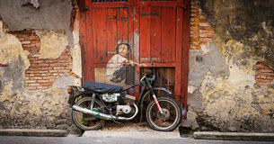 MALAYSIA, PENANG, GEORGETOWN - CIRCA JUL 2014: Public art piece Royalty Free Stock Image