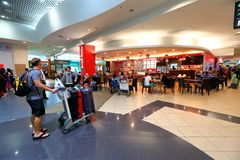 Malaysia: Penang international airport before immigration check in retail area. Stock Image