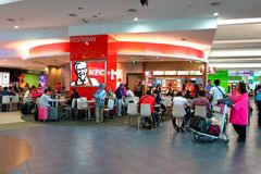 Malaysia: Penang international airport before immigration check in retail area. Royalty Free Stock Image
