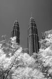MALAYSIA Petronas Twin Towers, KLCC, black and white royalty free stock photos