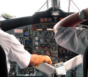 Malaysia. Pilot and CoPilot. Malaysia.. Pilot and CoPilot at Cockpit Controls royalty free stock photography