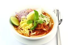 Malaysia Popular Laksa Assam Penang. In a White Bowl served with traditional condiments stock photo