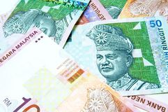Malaysia ringgit. Of 10 and 50 Royalty Free Stock Photography