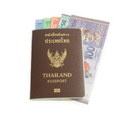 Malaysia ringgit banknote keep in Thailand passport. On white backgrou stock photography