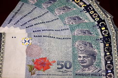 Malaysia Ringgit Notes. 50-dollar Malaysia Ringgit notes Royalty Free Stock Image