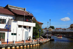 Malaysia Riverside Traditional House Stock Photo