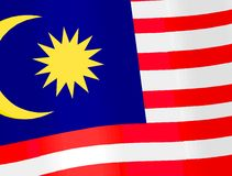 Malaysia's flag. Flag of Malaysia waving in the wind Royalty Free Stock Photography