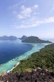 Malaysia Sabah Borneo Scenic View av den Tun Sakaran Marine Park troen Arkivbild