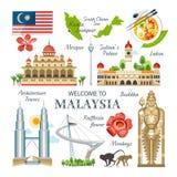 Malaysia samling av traditionella bu för objektgränsmärkesymboler vektor illustrationer