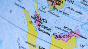 Malaysia and Singapore. Asia. Terrestrial Globe 4K stock video footage