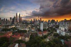 Malaysia skyline at sunset Stock Image