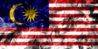 Malaysia smoke flag isolated on a black background.  Royalty Free Stock Photography