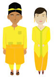Malaysia Traditional Costume In Vector Royalty Free Stock Photos