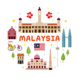 Malaysia Travel Attraction Label Royalty Free Stock Photos
