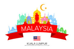 Malaysia Travel Landmarks and Flag. Royalty Free Stock Image