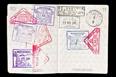 Malaysia visa stamps in passport royalty free stock photos